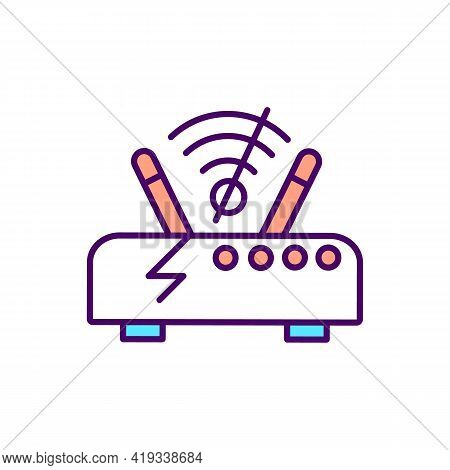 Wi Fi Router With Lost Signal Rgb Color Icon. Error In Home Internet Connection. Digital Exclusion.