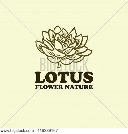 Lotus Design Logo Vector. Lotus Hand Drawn Illustration Vector
