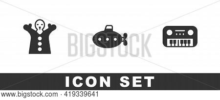 Set Toy Puppet Doll On Hand, Submarine Toy And Piano Icon. Vector