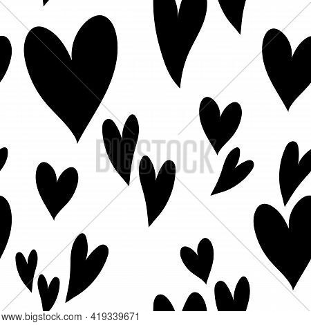 Cute Black White Hearts Pattern, Love Texture, Romantic Print. Festive Seamless Pattern For Valentin