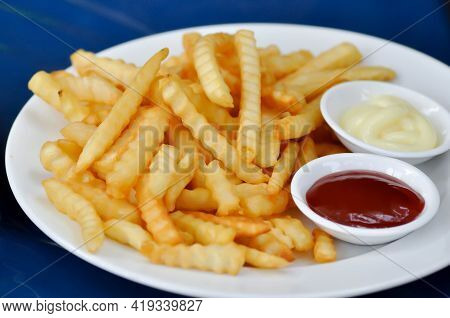 French Fries Or Fried Potato With Tomato Sauce Or Catchup And Mayonnaise