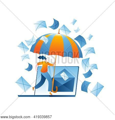 The Girl With The Umbrella Protects The Mail Server On The Computer From Spam. Vector Illustration O