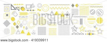 Set Of Geometric Shapes. Memphis Design, Retro Elements For Banner, Poster, Billboard And Sale. Vint