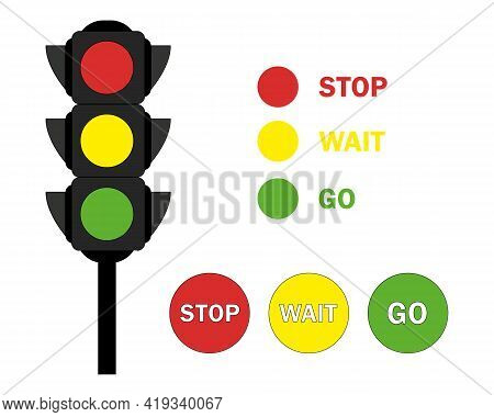 Flat Traffic Lights With Three Colors - Red, Yellow, Green. Set Traffic Light Illustration. Can Be U