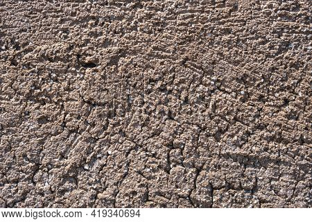 Beige Empty Old Rough Wall For Background, Texture. Exterior Structure Of Stone, Grunge Concrete, Po