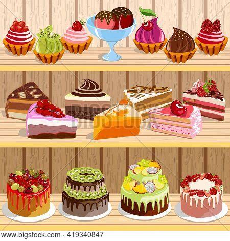 Sweet Desserts On Wooden Shelves.vector Illustration With A Set Of Sweet Desserts On Wooden Shelves.