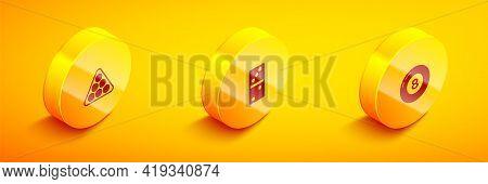 Set Isometric Billiard Balls In Triangle, Domino And Pool Snooker Icon. Vector