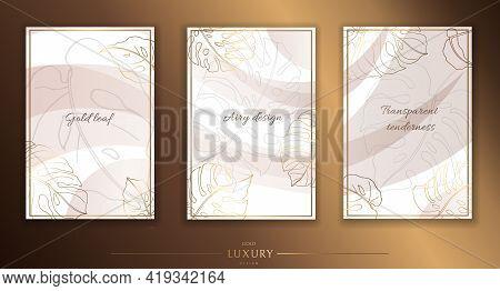 Gold Frame. Set Of Gilded Monstera Leaves And Twigs. Modern Minimalist Design. Vector Illustration.