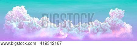 Panoramic Big Cumulus . Digital Nature 3d Rendering