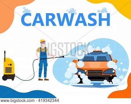 Car Wash Center Station Landing. Auto Service Man Worker Washing, Clean Car, Foam Bubbles. Vector Il