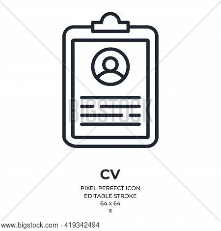Curriculum Vitae Document Editable Stroke Outline Icon Isolated On White Background Flat Vector Illu