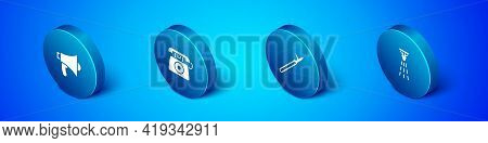 Set Isometric Megaphone, Metal Pike Pole, Fire Sprinkler And Telephone Call 911 Icon. Vector