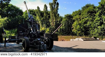 Odessa, Ukraine - June 24, 2019: This Is The Coastal Artillery Used In World War Ii At The Site Of T