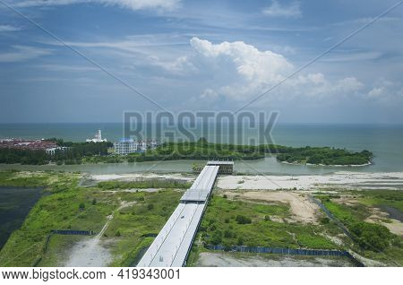 Malacca Island Located In The Melacca Straits Near Melaka Malaysia On A Sunny Day.