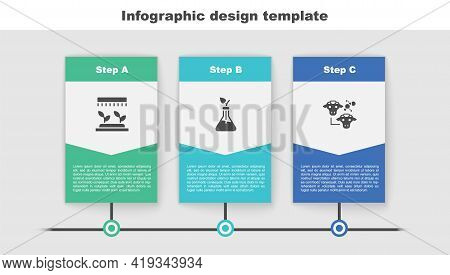 Set Automatic Irrigation Sprinklers, Plant Breeding And Cloning. Business Infographic Template. Vect