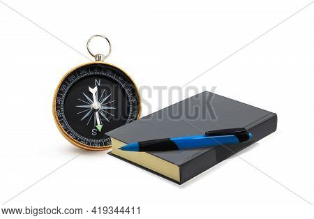Round Compass, Fountain Pen And Notepad Isolated On White Background As Symbol Of Tourism With Compa