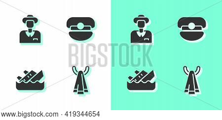 Set Towel On A Hanger, Tourist, Sinking Cruise Ship And Captain Hat Icon. Vector