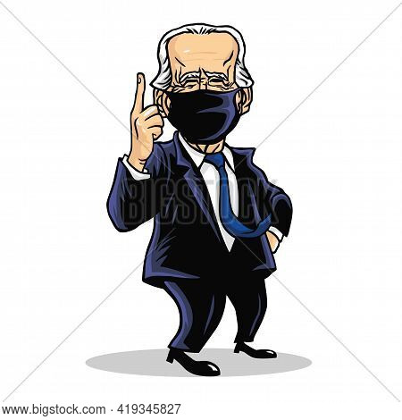 Joe Biden President Of Us United States Of America Wearing Mask Cartoon Caricature Vector Drawing Il