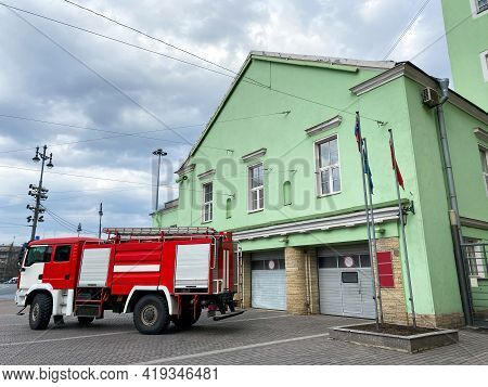 St. Petersburg, Russia - April 22, 2021: Fire Truck Near The Rescue Unit. Fire Fighters And Protecti