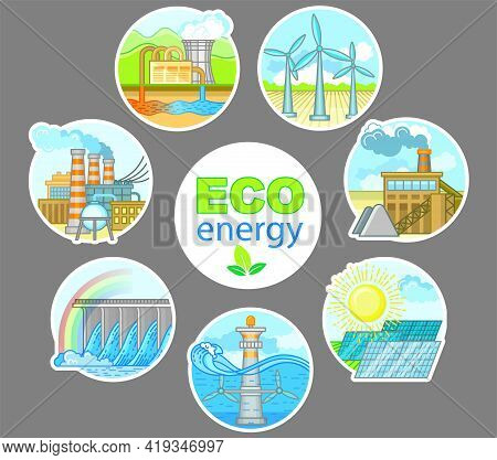 Energy Power Plant And Factory. Set Of Illustration In Flat Style Nuclear Energy Industrial Concept.