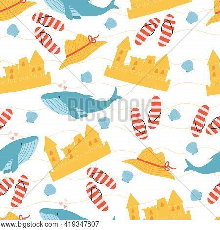 Seamless Pattern Of Beach Elements: Sand Castle, Flip Flops, Hat, Shell And Whale. Summertime Concep