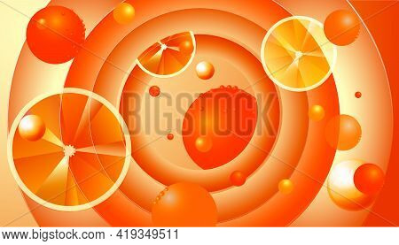 Abstract 3d Background With Oranges. Saturated Colors, Circular Composition