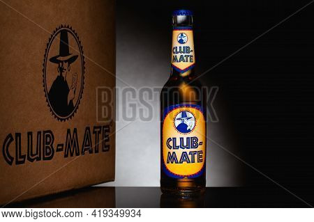 Prague,czech Republic -  26 March, 2021: Club-mate Bottle On The Glass Table. It Is A Caffeinated Ca