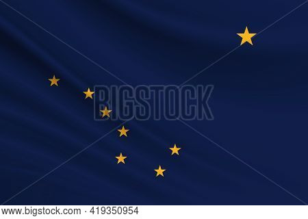 Flag Of Alaska. Fabric Texture Of The Flag Of Alaska.