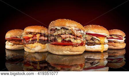 Double Burger, Cheese Burger, Egg Burger, Bacon Burger And Chicken Burger
