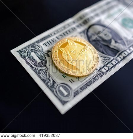 Gold Dogecoin On One Dollar Banknote. Doge Road To 1 Dollar. The  Most Popular Meme Crypto Coin In C