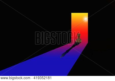 Abstract Image Of Chess Pawn Depicting Queen In Tunnel Against Background Of Abstract Sun As Symbol
