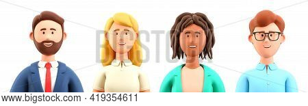 3d Illustration Of Smiling People Close Up Portraits Set. Cute Cartoon Business Men And Women Avatar