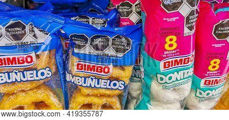 Bimbo White Donitas Donuts And Bimbunuelos Packaging Supermarket In Mexico.