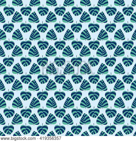 Fresh Mood Floral Seamless Pattern Vector. Blue And Green Striped Tropical Leaves Calm Mood Pattern