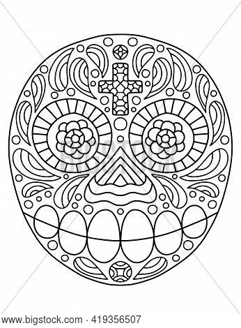 Hand-drawn Linear Ornamental Skull For Dia De Muertos And Halloween Coloring Page For Kids And Adult