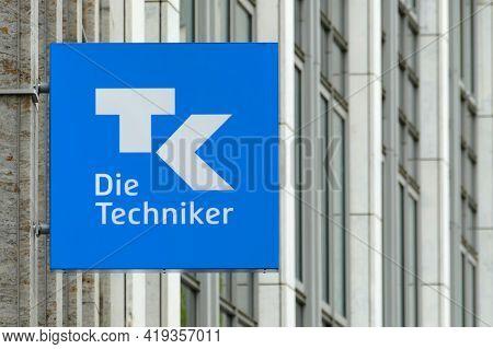 Berlin, Germany, May 4, 2021, Sign With Tk Logo At The Berlin Branch Of Techniker Krankenkasse In Al