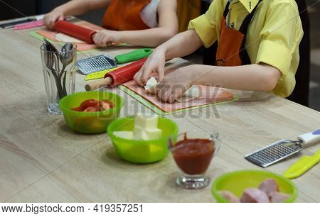 Pizza Making Process, Pizza Dough In Hands, Ingredients For Making Pizza, Children Preparing Pizza