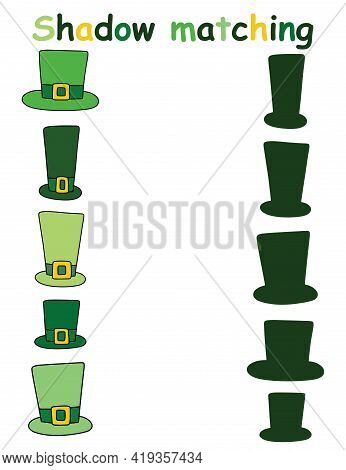 Educational Shadow Matching Game Printable Activity Page With Green Hats Stock Vector Illustration.