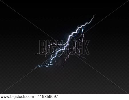 A Set Of Lightning Magic And Bright Light Effects. Vector Illustration. Discharge Electric Current.