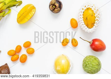 Exotic Fruit Collection, Exotic Fruits On White Background