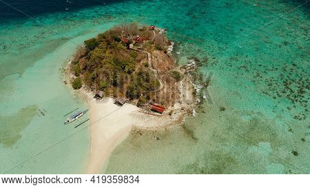 Aerial Seascape Tropical Island And Sand Beach, Turquoise Water And Coral Reef. Malacory Island, Phi