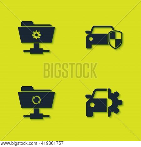 Set Ftp Settings Folder, Car Service, Sync Refresh And Protection Or Insurance Icon. Vector