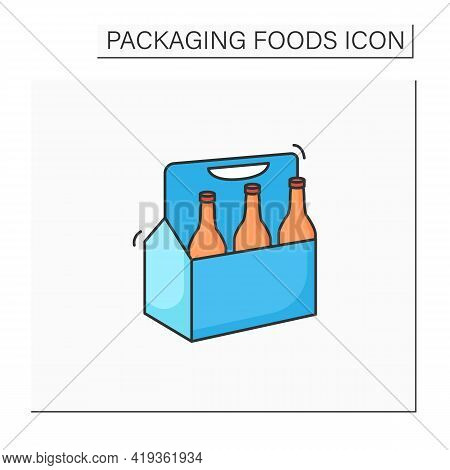 Beer Color Icon. Comfortable Box For Beer. Portion Control. Convenience In Distribution, Delivery.pa