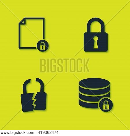 Set Document And Lock, Server Security With, Broken Or Cracked And Lock Icon. Vector