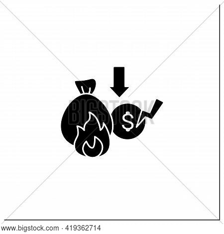 Lost Savings Glyph Icon. Money On Bank Account. Investition. Bankrupt. Unemployment Concept. Filled