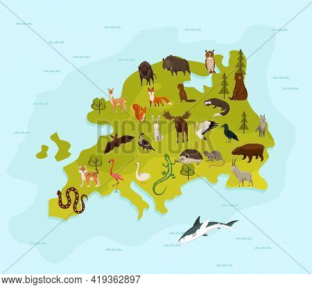 Animal Map Of Europe. Nature Fauna Cartography Concept . Geographical Map With Local Fauna. Continen