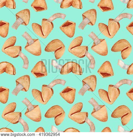 Fortune Cookies. Cookie With Predictions. Chinese Christmas Cookies. Seamless Pattern On A Turquoise
