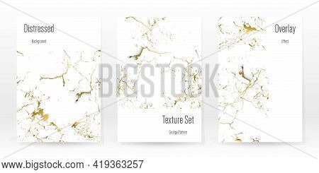 Elegant Gold Texture Set. Marble Business Card. Distress Grunge Stone. Gold White Cracked Wall Textu