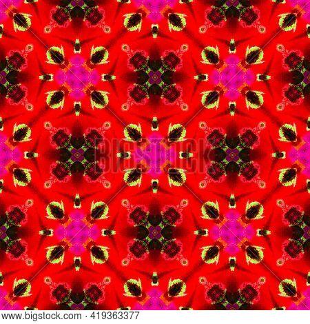 Modern Abstract Medallion. Orange, Red, Pink Home Decor. Mediterranean, Majolica Motif. Azulejo, Por