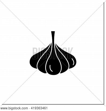 Garlic Glyph Icon. Special Species For Dishes. Improve Food Taste. Dietary Food. Vegetarian, Healthy